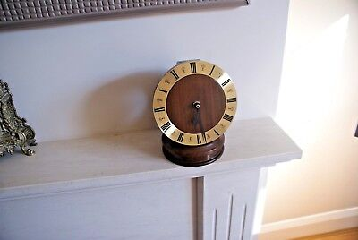 Hand Made Wood Mantle Clock Striking Wood Work Unusual Design Two Piece