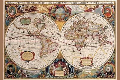 Colorful national geographic antique world map framed art prints world map 17th century antique vintage art print poster 24x36 gumiabroncs Gallery