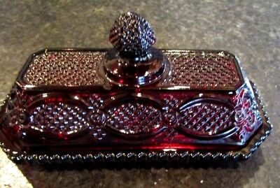 Vintage Avon Ruby Red Cape Cod Covered Butter Dish Excellent Condition