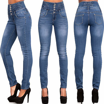 0ec66ed8a8 WOMEN HIGH WAIST Ripped Jeans Ladies Skinny Denim Sexy Trousers Size ...