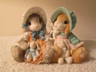 1998 Enesco My Blushing Bunnies Blessings Multiply When Shared Figurine