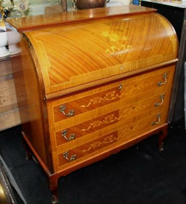 Inlaid Cylinder Fronted Antique Style Bureau Desk