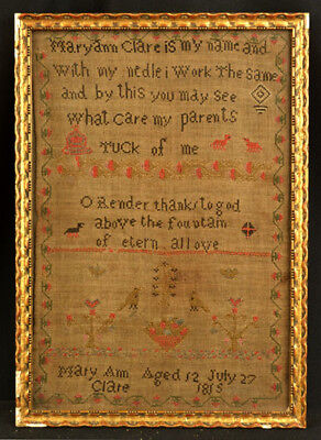 Antique American Folk Art Sampler Hand Sewn Strong Colors By Mary Ann Clare 1815