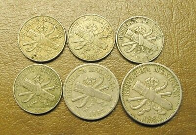 SIX (6) COPPER NICKEL MEXICO REPUBLIC I, II & V CENTAVO COINS, 1882 and 1883