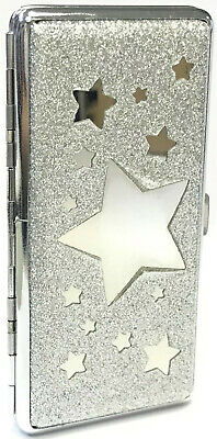 Eclipse Silver Glitter Star Crushproof Metal Cigarette Case w/ Mirror, 120s
