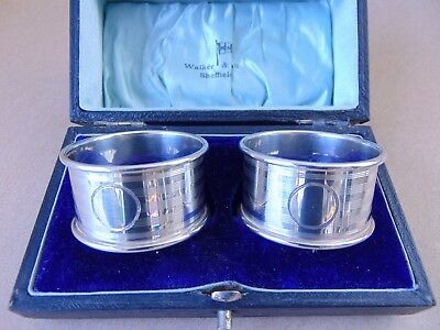 Excellent Antique Pair Sterling Silver Napkin Rings 1917, Not Engraved