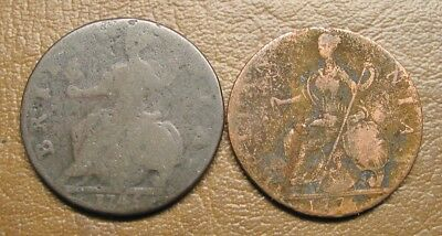 1745 And 1775 Colonial English Copper Half Pennys