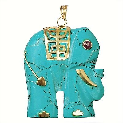 Genuine Stone Elephant Pendant with 14K Gold Accents - Howlite Turquoise
