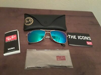 9166ae24c2 NWT New Ray-Ban RB3543 Gold   Polarized Blue Mirror Chromance Sunglasses  size 59