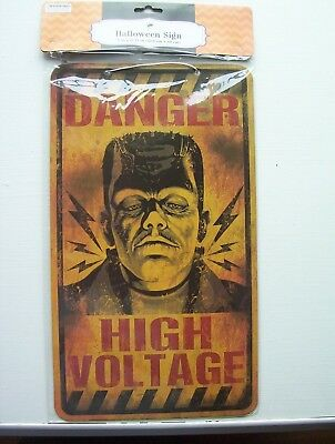 "Danger High Voltage Sign -Frankenstien Halloween Decor Prop New 9x15"" Cool"