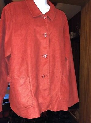 COLDWATER CREEK Faux Suede Rusty Red Button Up Lined Shirt Jacket Pockets XL