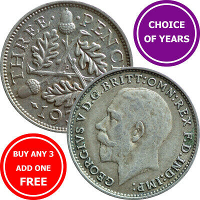 SILVER Threepence : 1911-1936 : George V : 3d Coin : Choose Year