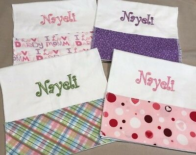 Personalized boys or Girls Burp Cloth set of 3  Monogrammed Burp Cloths Custom