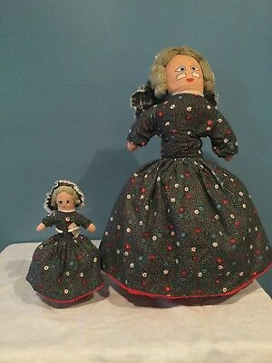 "Two Topsy Turvey dolls with stands. Homemade ""Little Red Riding Hood"""
