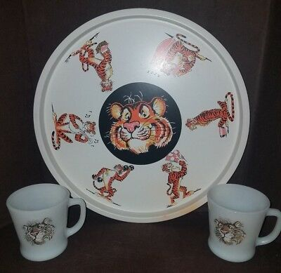 1960's Fire King Promotional Esso Exxon Tiger Serving Tray With 2 Coffee Mugs