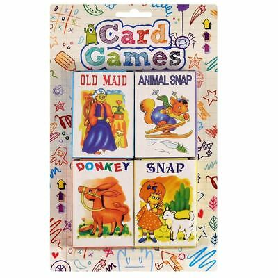Pack Of 4 Classic Childrens Kids Card Games Fun Old Maid Animal Snap Donkey