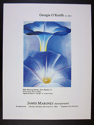 1981 Georgia O'Keeffe Blue Morning Glories painting NYC gallery vintage print Ad
