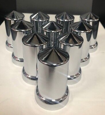 """Round w/ Pointed tip 33mm chrome lug nut cover, push-on, 3-3/16"""" -  (pack of 10)"""