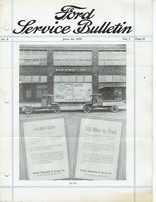 Ford Service Bulletin June 1 1920 Original Model T Car and Fordson Tractor
