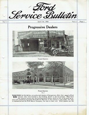 Ford Service Bulletin April 1 1920 Original Model T Car and Fordson Tractor