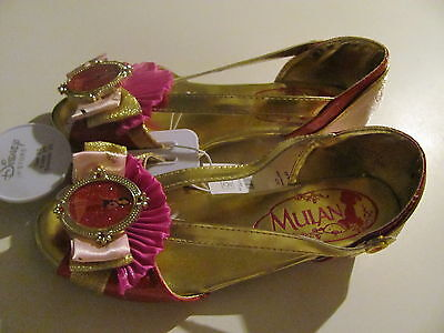 """DISNEY"" Deluxe Mulan Girls Princess Shoes Costume Dress Up Heels, SZ 2/3"