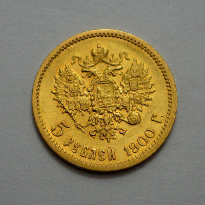 1900 ( Ф З ) Russia 5 Rouble Gold Coin Imperial Russian Nicholas Ii 5 Rubles ..!