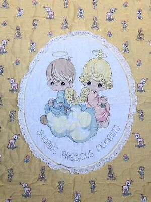 """Sharing Precious Moments Baby Quilt Blanket Yellow Eyelet Lace Trim 48"""" x 36"""""""