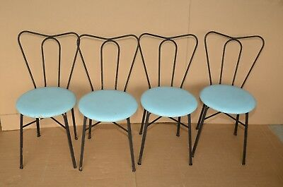 Lot Of 4 Vintage Wrought Iron Mid Century Parlor Bistro Chairs With Vinyl Seat
