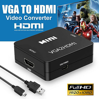 VGA to HDMI 1080P HD HDTV Video Audio Converter Box Adapter For DVD/PC/Laptop US
