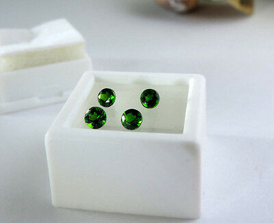 4 pc Round Diamond Cut Russian Chrome Diopside 1.20tcw faceted by me :)