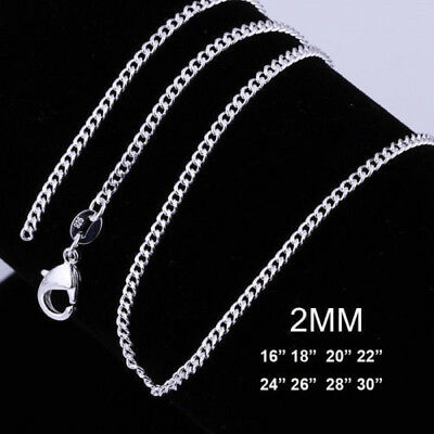 16 18 20 22 24 Inch Uk 2Mm Solid 925 Sterling Silver Curb Chain Trace Necklace