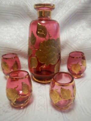 Antique Cranberry Moser Art Glass Hand Blown Decanter and 4 shot glasses