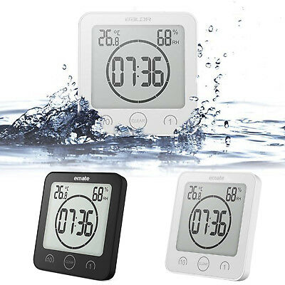 Waterproof Digital Shower Clock Timer Alarm Temperature Humidity Meter Bathroom