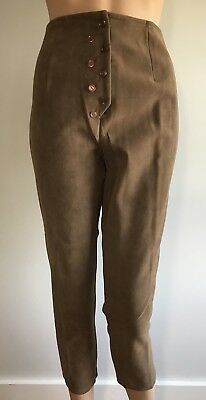 Vtg 1950s Suede Capris High Waisted Cigarette Pants Stretch Small