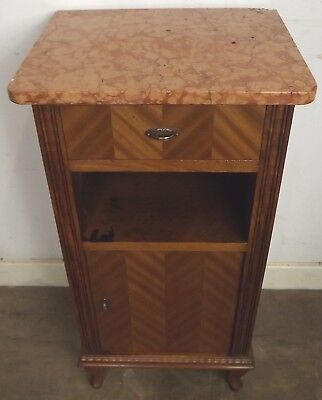 Antique Continental Marble-Topped Bedside Cabinet Birch with Walnut Veneers