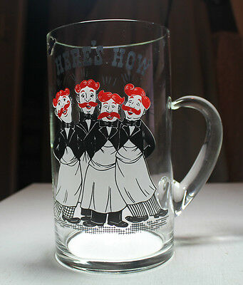 vtg old bar glass cocktail pitcher Barbershop quartet Here's How West Virginia