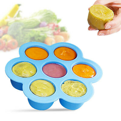 Silicone Kid Baby Food Container Storage Silicone Freezer 7Cavity Trays with Lid
