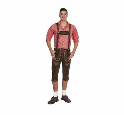 Men's Bavarian Lederhosen - Knee Length - Brown - Oktoberfest Leather Pants