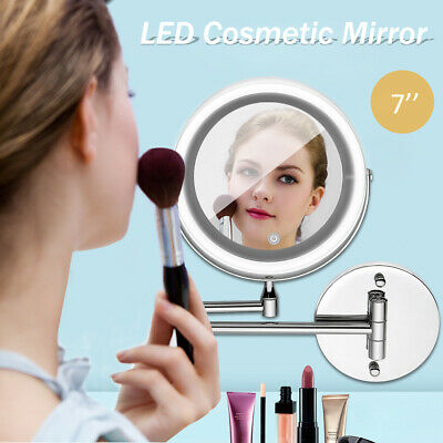 LED 10x Magnifying Makeup Shaving Vanity Mirror Bathroom Wall Mount 360° Swivel