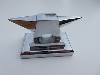 Art Deco Era Anvil Paperweight Exhibition Quality  Solid Tactile Chromed Vgc