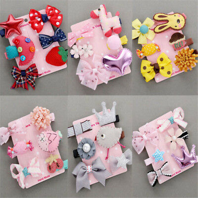 6Pcs Baby Girls Hair Clip Bow Kids Infant Cute Mini Barrettes Mix Hairpin Kawaii