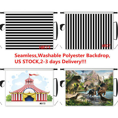 US Black & White Striped Circus Dinosaur Polyester Background Studio Backdrop LB