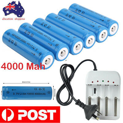8x 18650 3.7V 4000mAh Li-ion Rechargeable Battery+AU Smart Charger LED Indicator