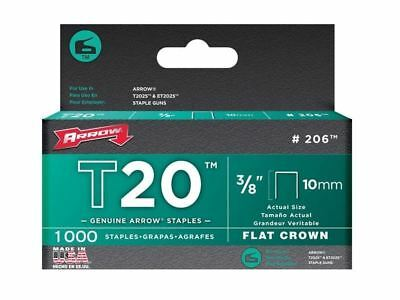 "1000 Arrow Fastener 206 Genuine Flat Crown T20 10mm 3/8"" Staples"