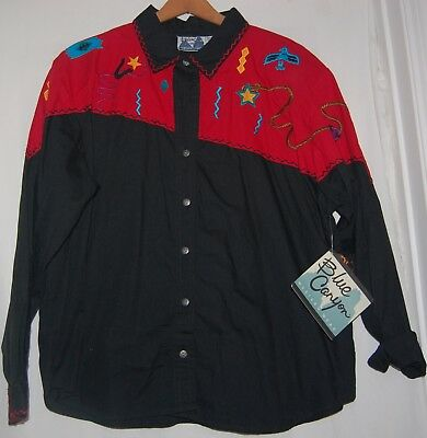 Vintage Blue Canyon Western Shirt Riding Rodeo Red Aztec Embroidered NWT XXL