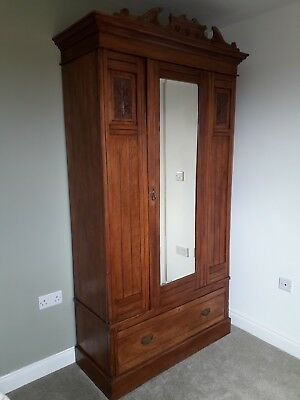 Satin Walnut Wardrobe With Fine  Carved Detail