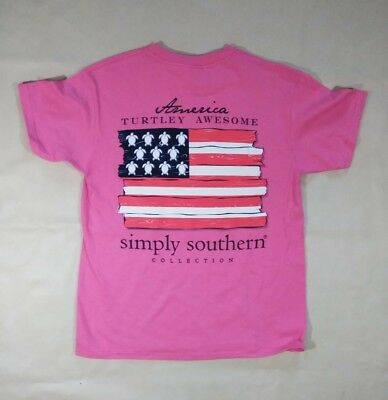 """NWT Simply Southern """"America, Turtley Awesome"""" Youth Sz. Small T-Shirt- READ AD"""