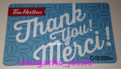 "Tim Hortons Canada 2016 Gift Card Blue ""thank You/merci"" Fd51887 No Value #6126"