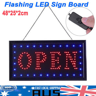 FLASHING LED SIGN OPEN SIZE 48CM X25CM / NO on off Switch Electronic Signs AU