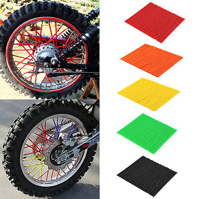 72X Motorcycle Spoke Skins Covers Wraps Wheel Pipe Guard Dirt Bike Motorbike UK